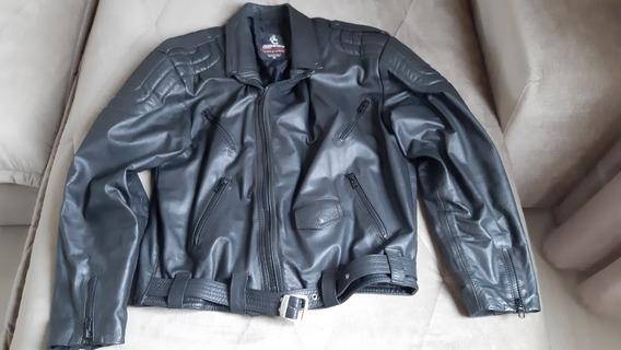 Jaqueta Em Couro Legítimo, Estilo Motociclista, Militar