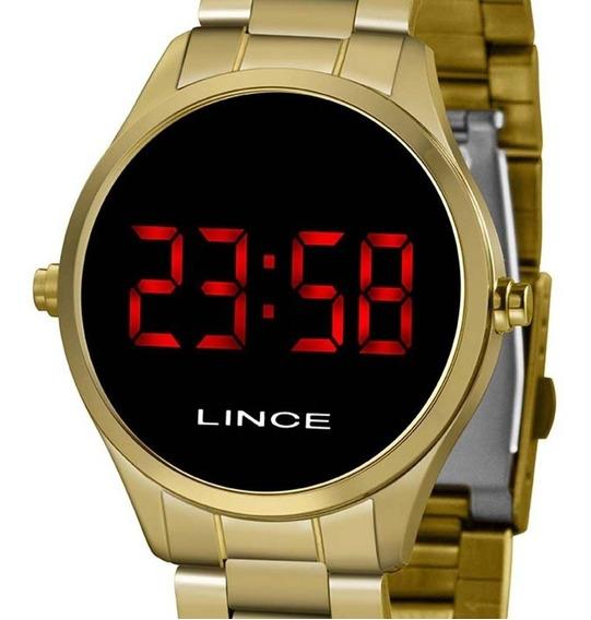 Relógio Lince Digital Dourado Original Feminino