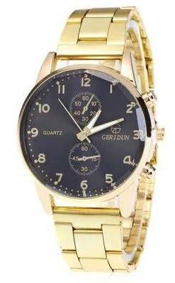 Relógio Masculino Luxo Quartz - Ouro