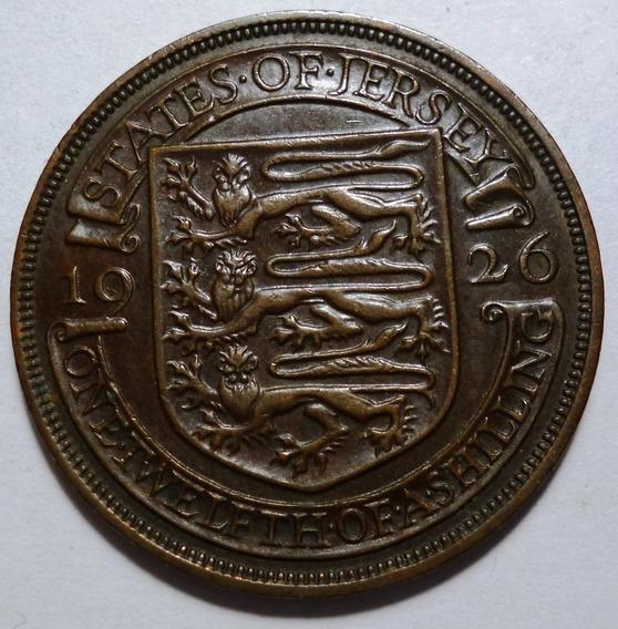 Jersey Moneda 1/12 Shilling 1926 Bronce Km#14 Au