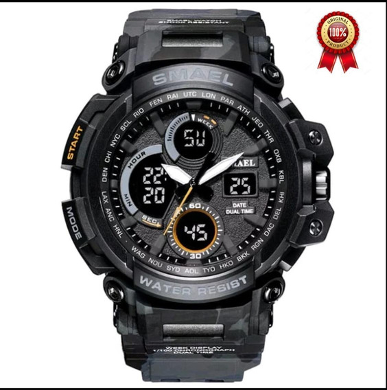 Relógio Smael Militar Camuflado Cinzento Rotam + Brinde