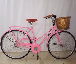 Bicicleta Paseo Mujer Rodado 28 Canasto De Mimbre Ram