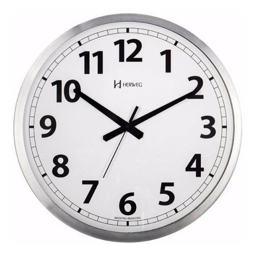 Relógio Silencioso Parede 35cm Aluminio Escovad Herweg 6712s