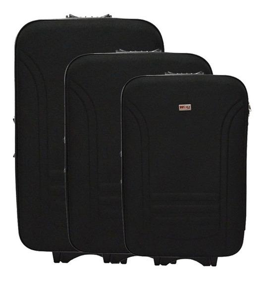 Kit Jogo Mala De Viagem Resistente Importway Ll1013 Preta