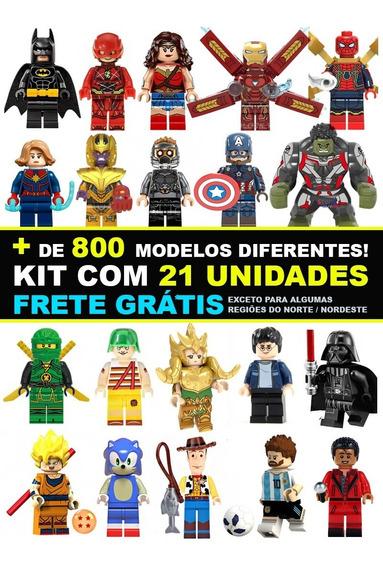 Kit 21 Bonecos Super Herois Marvel Star Wars Dc Compatível