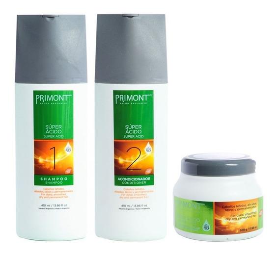 Primont Super Ácido Shampoo + Enjuague + Mascara 500 Gr
