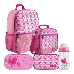 Mochila Escolar Infantil Feminina Rosa Claro + Lancheira E +