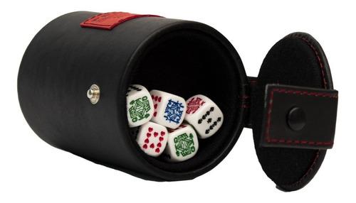Imagen 1 de 4 de Cubilete Curpiel Con Portadados Artesanal Fiesta Bar Poker