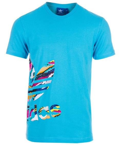 Playera adidas Hombre Azul Originals Con Trifolio Bq3029