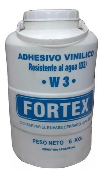 Cola Adhesiva Vinilica W3 Resistente Al Agua 6kg Fortex