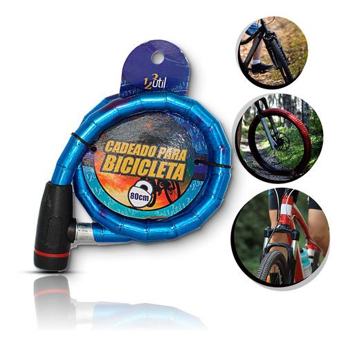 Corrente Cadeado Trava Bicicleta Chave Aço Bike Moto Azul