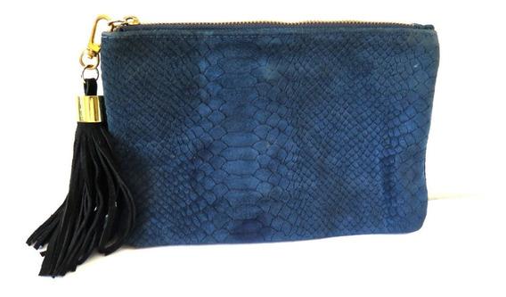 Cartera Sobre Cuero Azul Petroleo 23 X 15,5cm