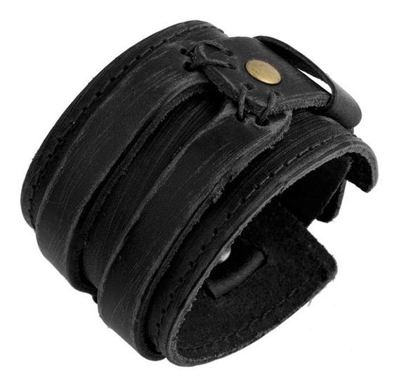 Bracelete Couro Masculino Casual Rock Original