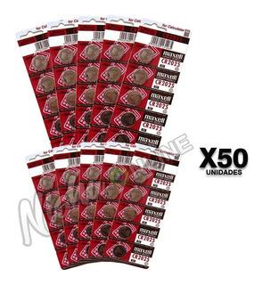 Pack 50 Pilas Maxell Cr2025 Lithium 3v Tipo Botón Calculador