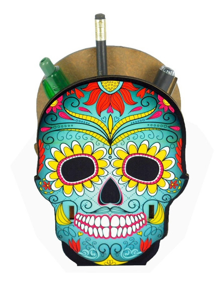 Porta Canetas E Lápis Decorativo Mdf - Caveira Mexicana
