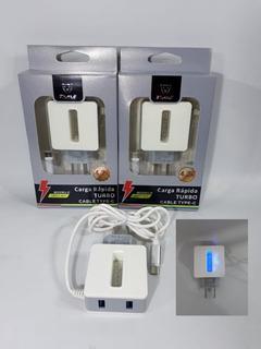 Cargador Rápido Turbo Cable Usb Tipo C + 2 Usb 4.2a Con Luz