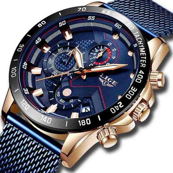 Relógio Lige 9929 Cronógrafo, Calendário, Luxo Promoção