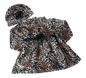 Vestido Infantil Frio Casaco Oncinha + Boina 2,3,6 Meses