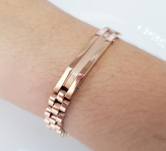 Pulseira Masculina Bracelete Aço Titânio Banhado Ouro Rose