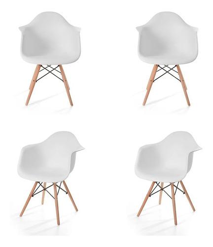 Imagen 1 de 4 de Paquete De 4 Sillas Eames Hood Con Brazos Moderna Retro