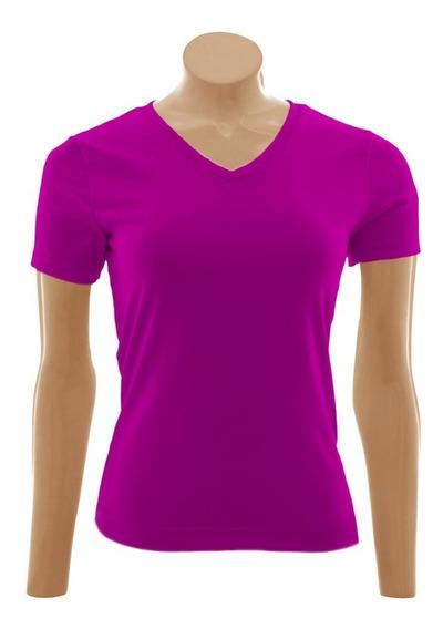Camiseta Baby Look Gola V, Algodão - 3 Unid. Pk