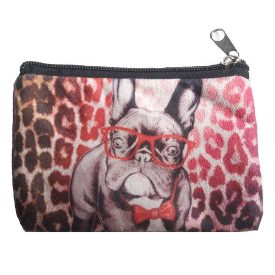 Monedero De Gamuza Estampado - Perro Bulldog Con Lentes