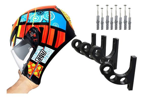 Kit 4 Suporte De Parede Para Pendurar Capacete E Acessórios