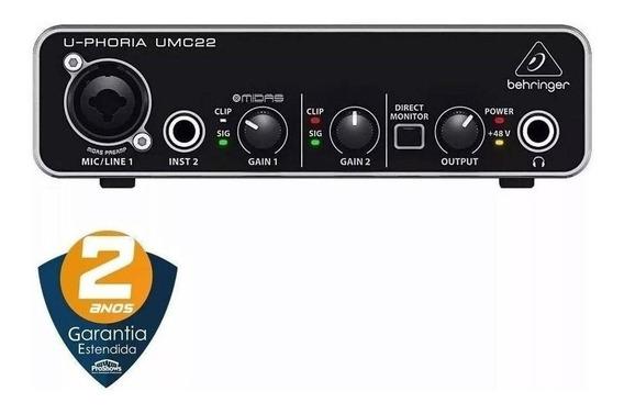 Interface De Áudio Behringer U-phoria Umc22 Usb 2x2