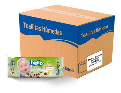 Imagen 1 de 6 de Toallitas Húmedas Hello Baby Jojoba 80 Pz, Caja Con 12 Paq.
