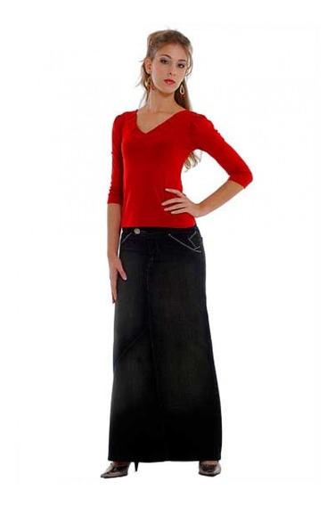 Saia Jeans Longa Promoção Moda Evangélica La Seve 30831