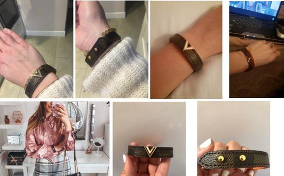 Bracelete Pulseira Louis Vuitton Luxo Couro