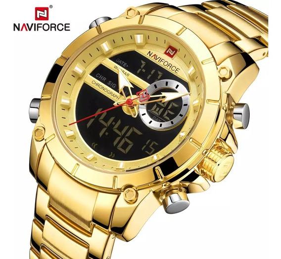 Relogio Naviforce Masculino 9163 De Luxo Dourado Importado