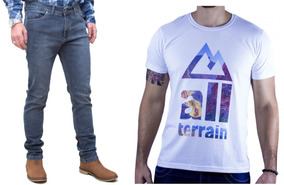 Kit Masculino Calça Jeans Stone Camisa Branca All Terrain