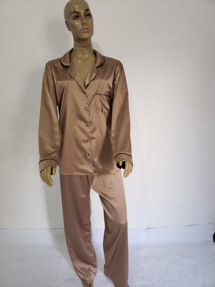 Pijama Femenino Seda Calça Comprida E Blusa De Manga Longa
