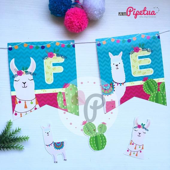 Banderin Feliz Cumple Llama Alpacas Impreso Guirnalda Cumple