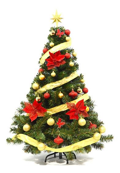 Arbol De Navidad Premium 1,30 M + Kit 36 Rojo Oro - Me