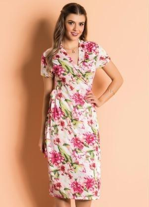 Vestido Com Transpasse Floral Moda Evangélica Frete Grátis