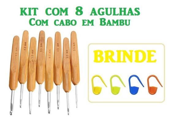 Kit 8 Agulhas Crochê Cabo Bambu 2.5mm A 6.0mm + Brinde