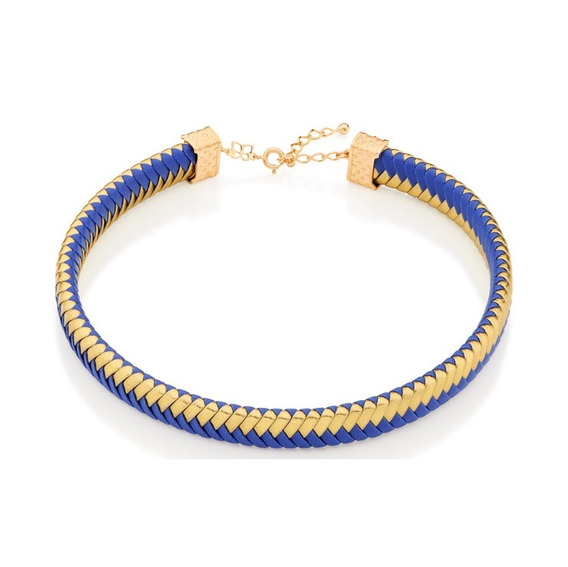 Choker Rommanel Banhado Ouro 18k Couro Azul E Dourado Com Nf