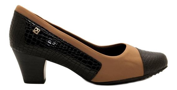 Zapato Clásico Mujer Charol Neoprene Negro Marrón Piccadilly