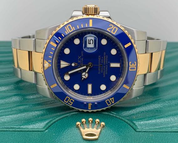 Rolex Submariner Aço E Ouro Azul