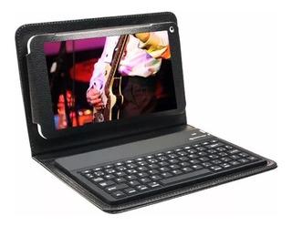 Funda Tablet 7 Simil Cuero Con Teclado Bluetooth
