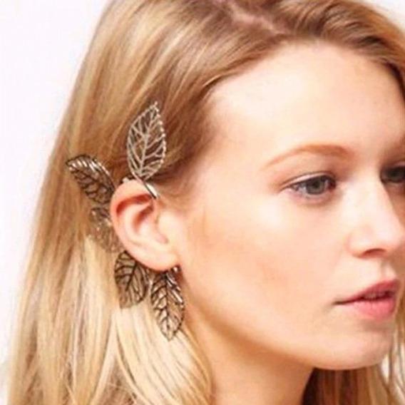 Grampo Piercing Orelha Brinco Folha Gótico Ear Cuf Conch