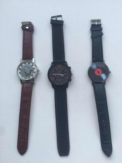 Kit Com Três Relógios. Sanwood, Skeleton Quasar E Discovinil