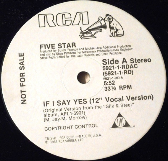 Five 5 Star If I Say Yes 12 Import Promo Us 1985