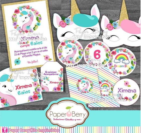 Kit Imprimible Unicornio Fiesta Niña 2x1