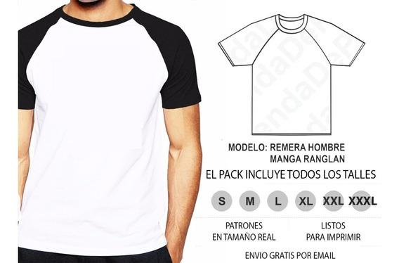 Molde Patrón Imprimible Remera Hombre Manga Ranglan S A Xxxl