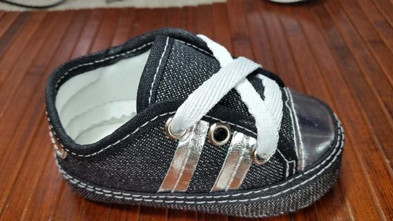Sapatinho Tênis Bebe Jeans E Prata Bebê
