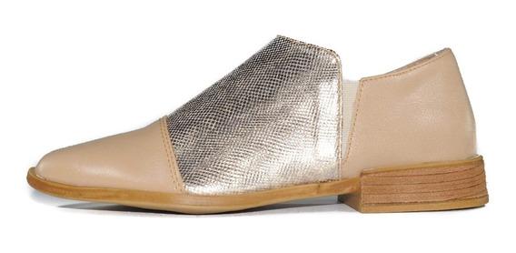 Zapato Bajo Mocasín En Punta Dama Mujer Charol Cuero Brillo