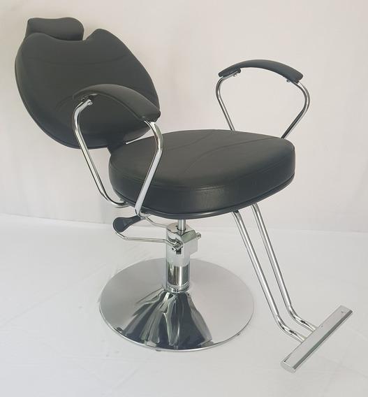 Poltrona Cadeira Topazio Reclinavel Base Redonda Preta